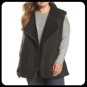 Love Token Faux Shearling Moto Vest Plus Size